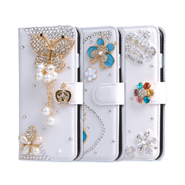 Note7 Wallet Stand PU Leather Diamond Case For Samsung Galaxy G530 / S6 Edge / S7 Edge / A5 / J5 / i8552 / S3 Handmade Cover Bag