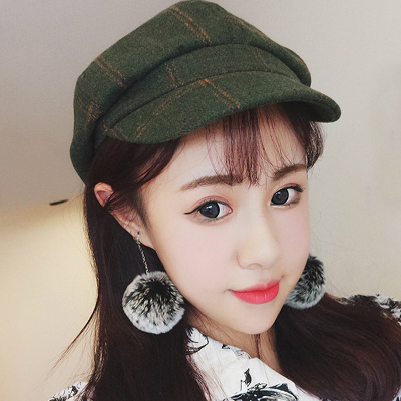 Christmas New Year Gift Winter Warm Beret All Matched Warm Walking Hat Women Plaid Hat
