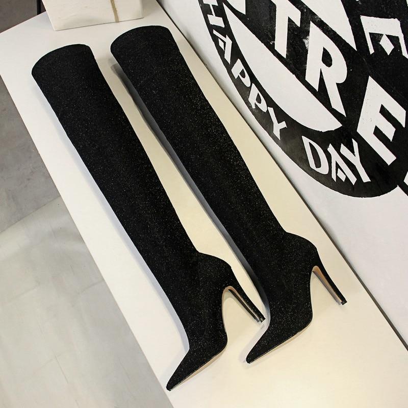 De Haut Élastique Chaussures Femmes Paillettes Cuisse D'hiver Design Mode Pointu Haute Bout Ummewalo Dames Talon Bottes Sexy Mince qv776T