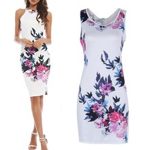 Women Chinese Style Summer Retro Floral Dresses Casual Sleeveless Package Hip Mini Dresses
