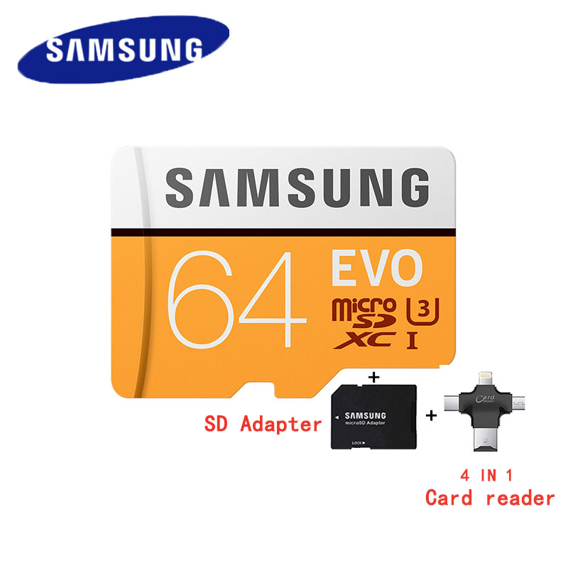 SAMSUNG Micro SD Card 64GB EVO Memory card Class10 microSDXC U3 UHS-I C10 TF Card 100MB/s HD for Smartphone Tablet with Adapter