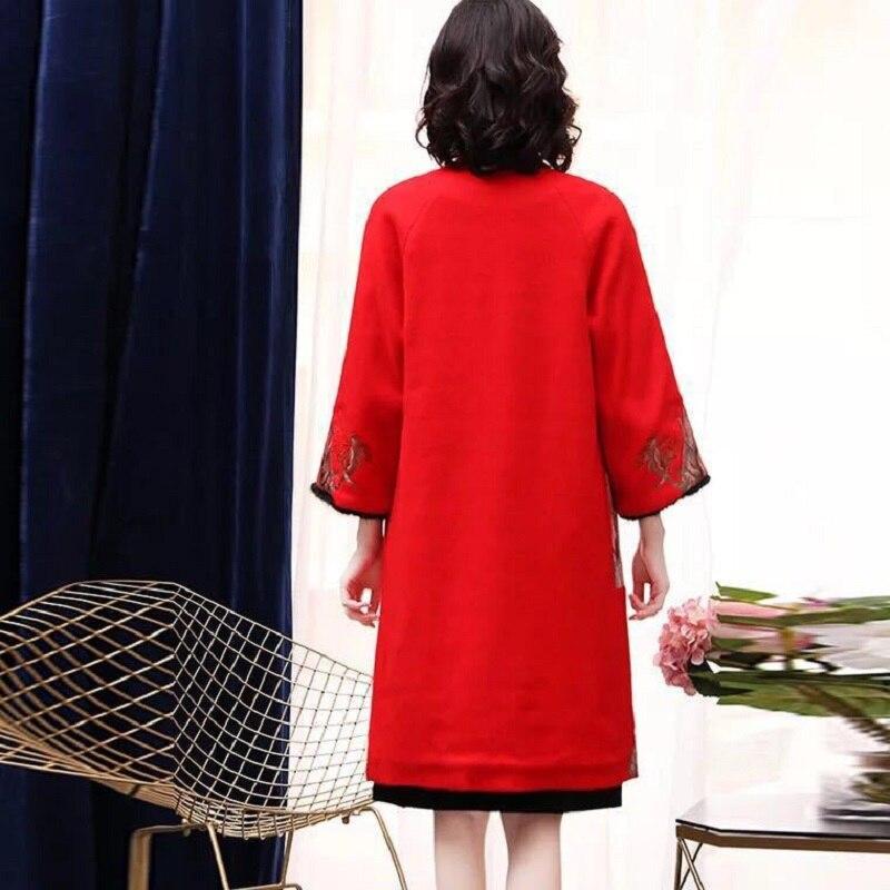À Vestes 2018 Longs Red Manteaux Broderie Xxxl Cachemire Longues Jaune Qualité Nouvelle Rouge Luxueux Hiver Top yellow Laine Manches Femmes Mode Tfxtqcw87
