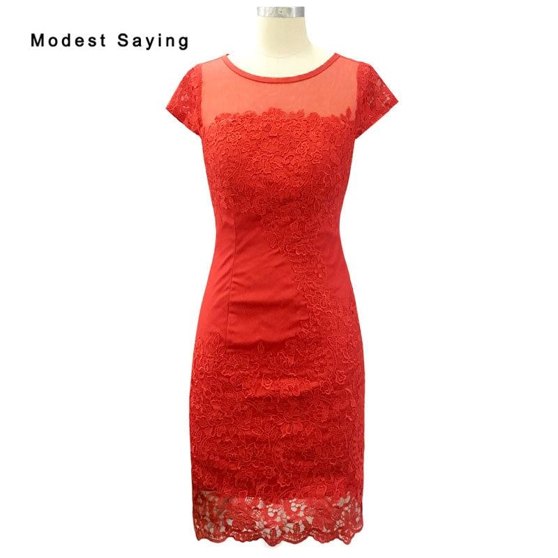 Elegantiškas raudonas trumpas rankovėmis nėrinis motina nuotako - Suknelės vestuvėms