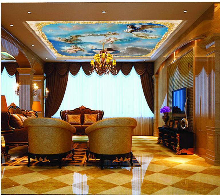 wallpaper 3d ceiling European-style zenith angel city 3d ceiling murals wallpaper Home Decoration angel city