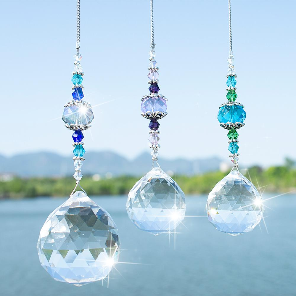 H&D Pack Of 3,Clear Crystal Prism Ball Rainbow Maker Window Prisms Suncatcher Crystal Pendants For Home,Office,Garden Decoration