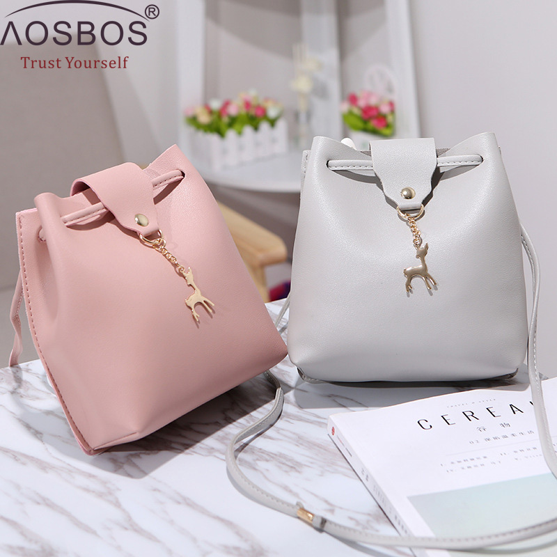 AOSBOS Fashion Casual Phone Coin Shoulder Bag Small Women PU Leather Messenger Bags Solid Hasp Bucket Crossbody Mini Bag 2019AOSBOS Fashion Casual Phone Coin Shoulder Bag Small Women PU Leather Messenger Bags Solid Hasp Bucket Crossbody Mini Bag 2019