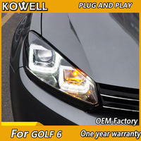 KOWELL Car Styling for VW Golf 6 GTI Headlights 2009 2012 golf mk6 GTI LED Headlight DRL Hid Option Angel Eye Bi Xenon