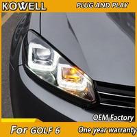 KOWELL Car Styling for VW Golf 6 GTI Headlights 2009 2012 golf mk6 GTI LED Headlight DRL Hid Option Angel Eye Bi Xenon