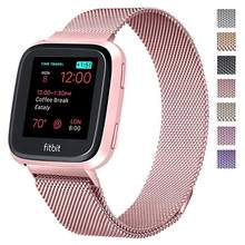 Metal Stainless Steel Band For Fitbit Versa Strap Wrist Milanese Loop Magnetic Bracelet Male Lady Size Smart Accessories(China)