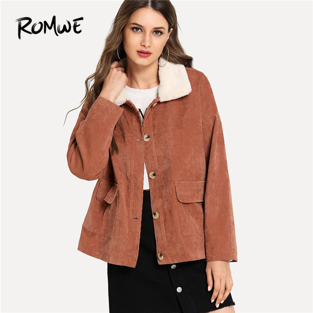 af372f2b4ec ROMWE Orange Button Front Pocket Detail Corduroy Coat Women Clothes 2018  Autumn Fashion Casual Female Single Breasted Outerwear