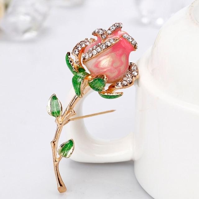 Mode Gaya baru Rhinestone Enamel Red Rose Bros Untuk Wanita Paduan Bunga Bros Pesta Pernikahan Perjamuan Hari Valentine Hadiah