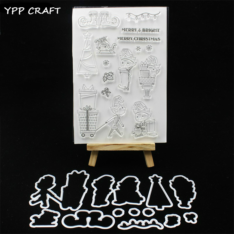 YPP CRAFT Merry&Bright Transparent Stamp And Cutting Dies for DIY Scrapbooking/Card Making/Kids Fun Decoration Supplies цена и фото