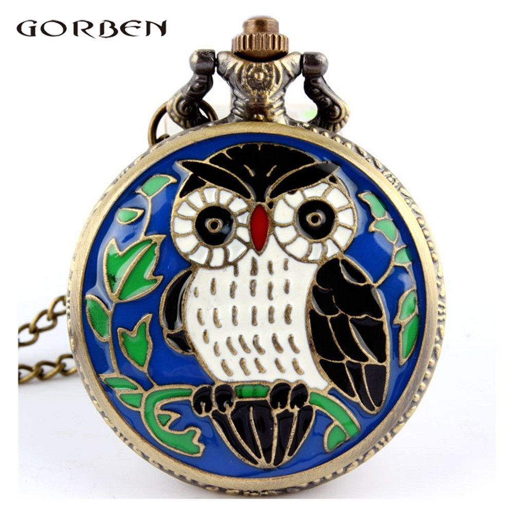 Night Owl Bird Quartz Vintage Pocket Watch Bronze Chain Pendant Necklace Fob Clock Men Women Gfit
