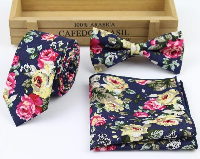 Mens Fashion Necktie Casual Diamond Check Artificial Cotton Flower Roes Bow Tie Paisley Skinny Ties Men Small Designer Cravat