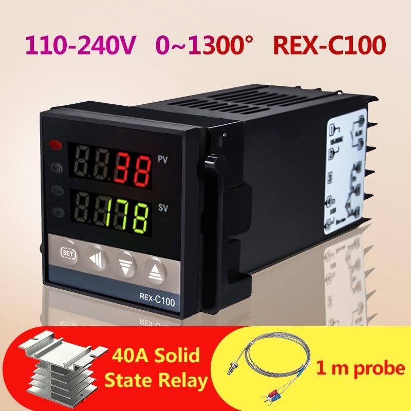 Novo Alarme REX-C100 110 V a 240 V 0 a 1300 Graus de Temperatura Digital PID Controlador Kits com o Tipo K sonda Do Sensor