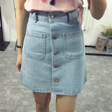 купить Summer A-line Pencil Jeans Skirts Women High Waist Denim with Pockets Skirts Front Button Women Clothes дешево