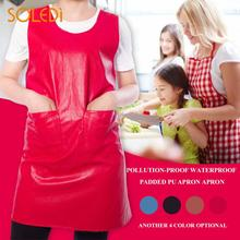 PU Leather Apron Stain-Resistant Home Practical Kitchen Dorpshipping