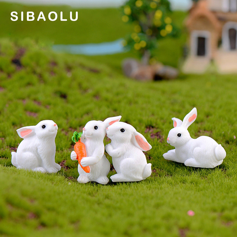 Mini Playing Rabbit Figurine Animal Model Resin Craft Micro Landscape Home Decor Miniature Fairy Garden Decoration Accessories