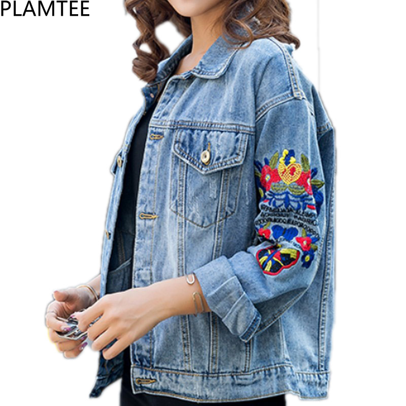 2e1dc846a6337 Detail Feedback Questions about PLAMTEE Ripped Denim Female Jacket  Embroidery Hole Jeans Coat Women Floral Long Sleeve Chaqueta Mujer 2017  Autumn Winter ...