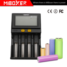 Wholesale LCD Smart Battery Charger Miboxer C4 for Li-ion IMR ICR LiFePO4 18650 14500 26650 21700 AAA Batteries 100-800mAh 1.5A