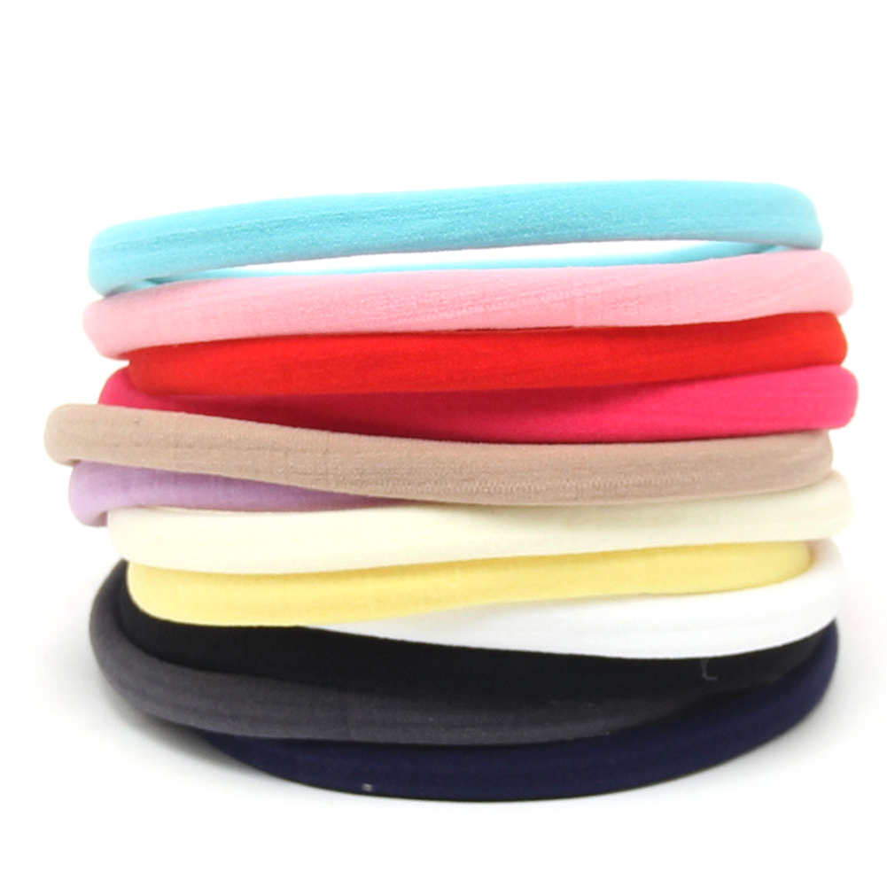 10 Pcs/lot, New Solid Color Nylon Elastic Headbands Soft Stretchy Nylon Headbands , One Size Fits Most DIY Hair Accessories