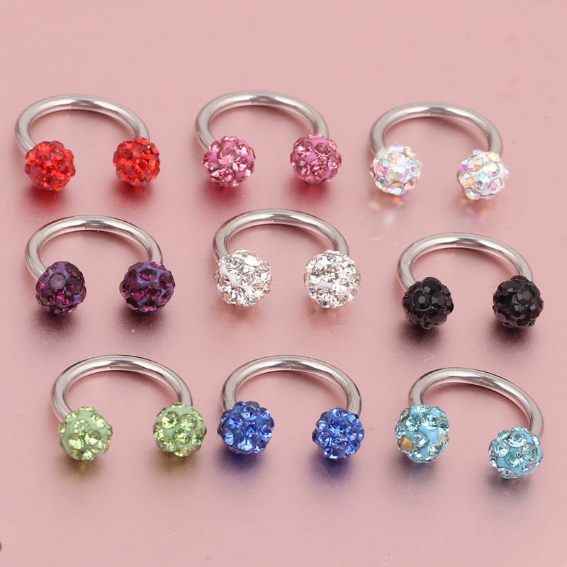Nostril Piercing Septum 1Pc Shangbala Ball Horseshoe Nose Rings and Studs Ear Bone Nail Earring Body Jewelry Women Accessories
