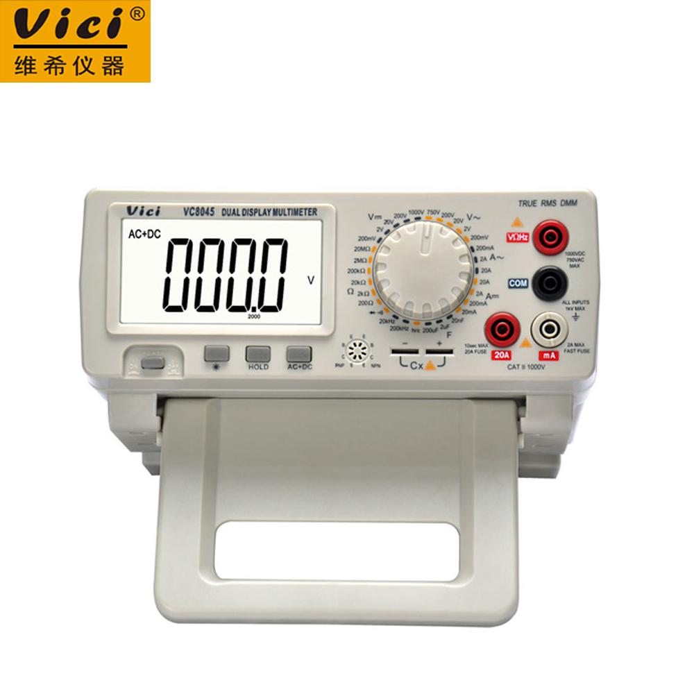 Digital Multimeter Vici VICHY VC8045 Bench Top 4 1/2 True RMS DCV/ACV/DCA/ACA DKTD0122 victor vc9808 3 1 2 digital multimeter dcv acv dca r c l f