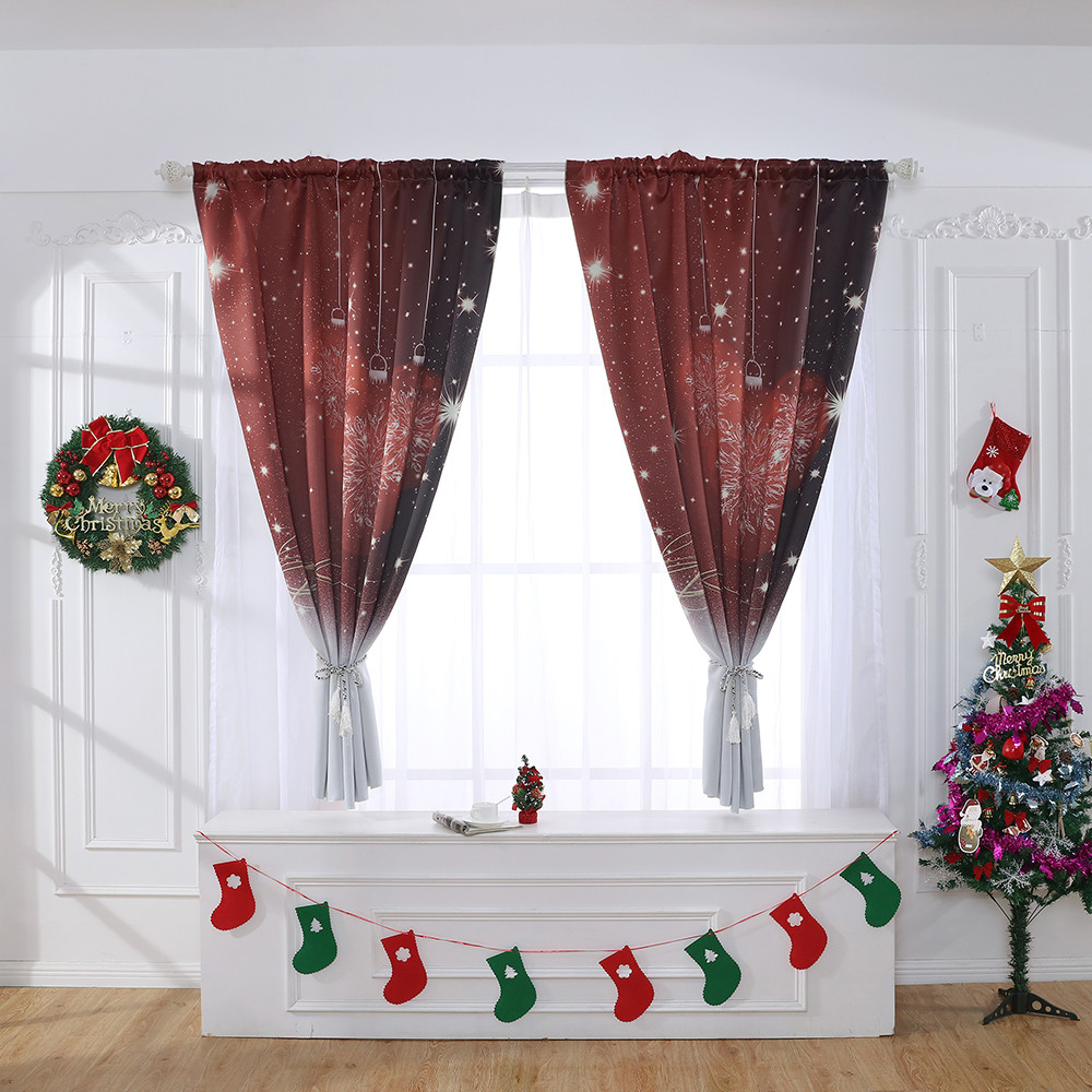 Home Office Window Curtain Room Decorative For Christmas Curtain Divide Tulle Window Treatment Voile Drape Valance 130x100cm