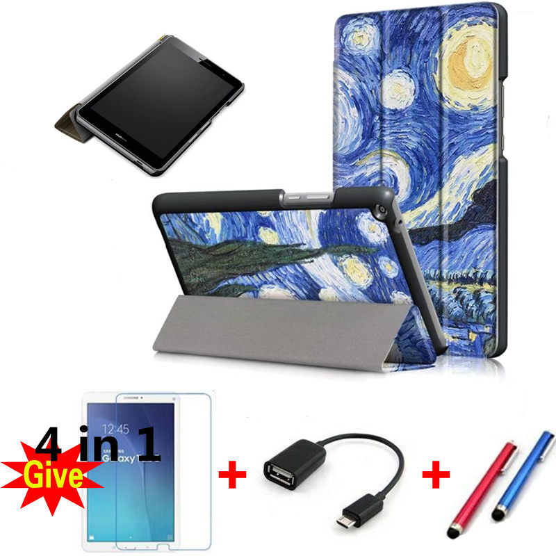Stand cover case for 2017 Huawei MediaPad T3 8.0 KOB-L09 KOB-W09 protective cover skin for Honor Play Pad 2 8.0 tablet+free gift for huawei mediapad t3 8 0 kob l09 kob w09 case ultra thin design case tpu silicone transparent matte cover honor juego pad 2 8