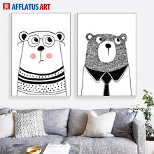 Black White Cartoon Animals Bear Wall Art Canvas Painting Nordic Posters And Prints Pictures For Kids Room Decor