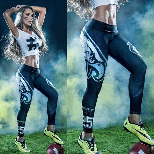 American Footballs Eagles Team Logo Print Leggings fitness Leggings for Women Sporting Workout Leggings Elastic Slim Pants