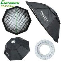 Godox Студия флэш Аксессуары Octagon Softbox 37.4 «/95 см Bowens горе с сетке для студии Strobe Вспышка свет