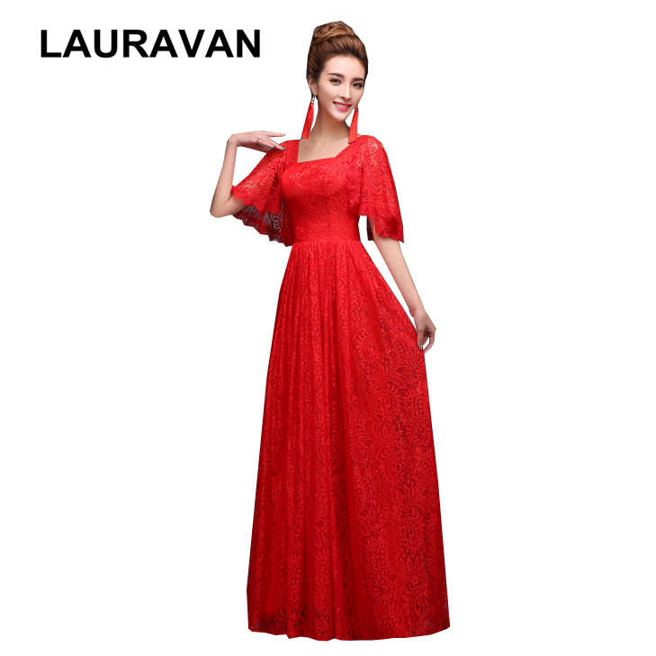 Long Red Capped Sleeve Bridesmaid Lace The Bride Plus Size Special Occasion Dresses A-line Floor Length Dress Cap Sleeves Gown