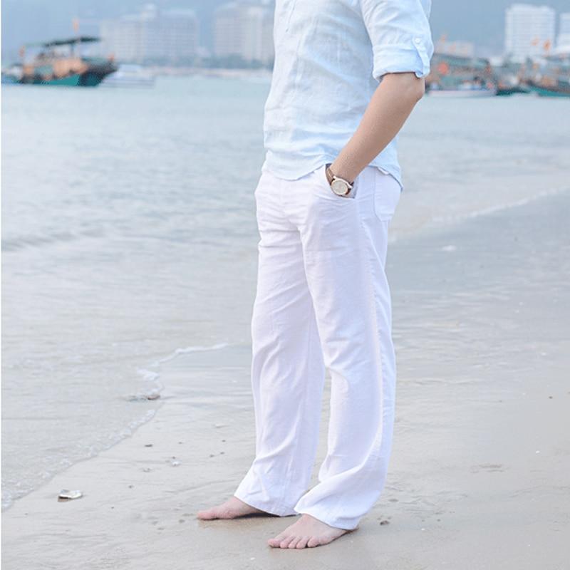 2019 Casual Pants for Men Cotton Linen Straight Trousers White Linen Elastic Waist Leisure Beach Man's Full Pants Plus Size