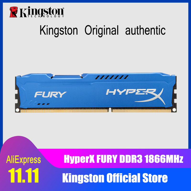 Kingston HyperX FURY Blue Series DDR3 4GB 8GB DIMM Intel Gaming Memory 1866MHz CL10 For Desktop PC guanqin fashion women watch gold silver quartz watches waterproof tungsten steel watch women business bracelet gq30018 b
