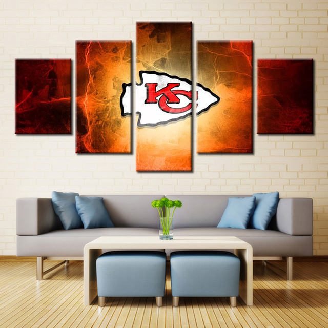 Forbeauty 5 Piece Canvas Painting KC Chief Kansas City Chiefs Logo Wall Art Picture Home Decor
