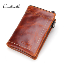 CONTACT'S Crazy Horse Leather Men's Wallets Short Design Multi-function Man Purse Zipper Coin Pocket Man Wallet  ID Card Holders