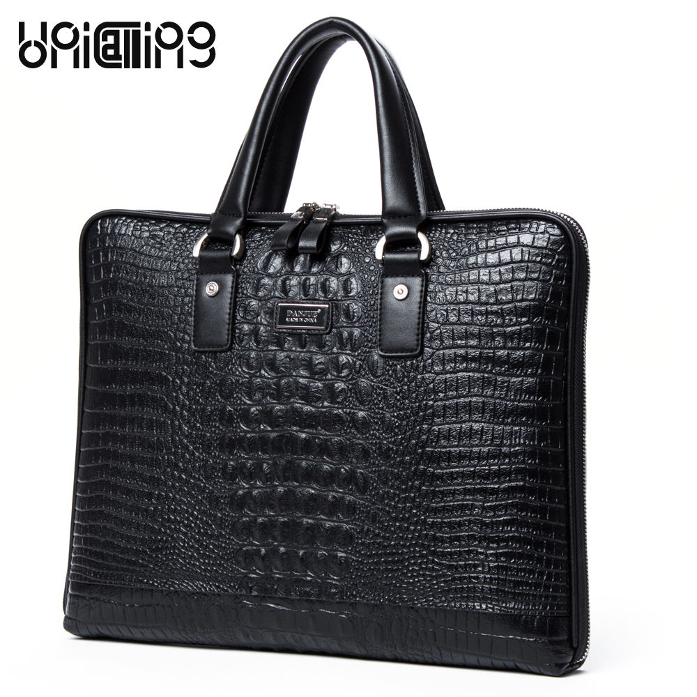 UniCalling crocodile pattern cowhide genuine leather business laptop briefcase handbag real cow leather crossbody handbag factory pirce free shipp genuine leather unisex fashion crocodile pattern handbag briefcase laptop bag 7276a