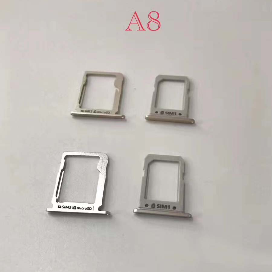 1set=2pcs SIM Card Tray Holder Slot For Samsung A8 A8000 Parts In Mobile Phone Tray Dual SIM Card micro SD Tray Slot Holder