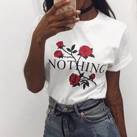 Europe And The United States Street Women Rose Flowers Nothing Loose T Shirt Female Short Sleeved