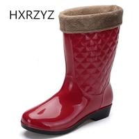 In The Tube Rain Boots Plus Velvet Korean Ladies Anti Skid Boots Warm Water Shoes Plus