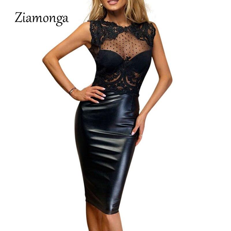 Ziamonga сексуальное облегающее платье новое черное вязаное кружевное платье Элегантное миди женское платье Vestido De Feata размера плюс облегающее платье - Цвет: Black