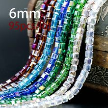 High Quality Hot New 6mm Crystal Square Shape Cube Austria Faceted Loose Spacer Round Glass Beads for Jewelry Making 95Pcs/lot(China)