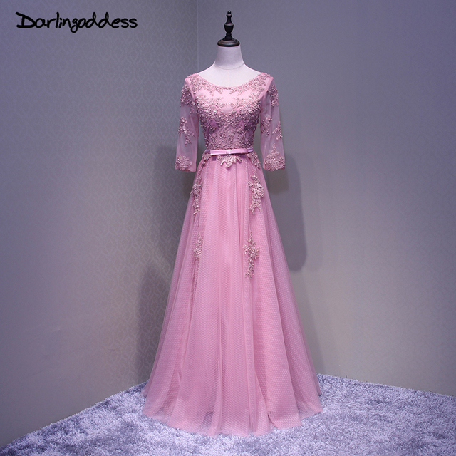 2017 Evening Dresses Dusty Pink A Line Party Gown Cheap 3/4 Sleeve ...
