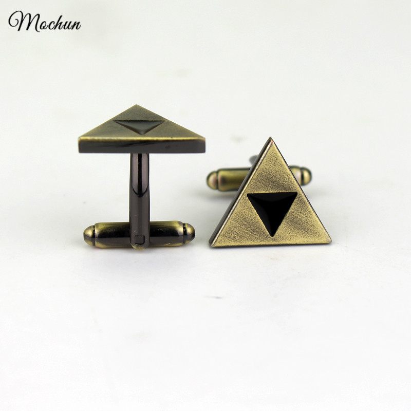 MQCHUN The Legend Of Zelda Triforce Metal Cufflink Cosplay Vintage Bronze Jewelry For Mens Christmas Gift Gemelos High Quality