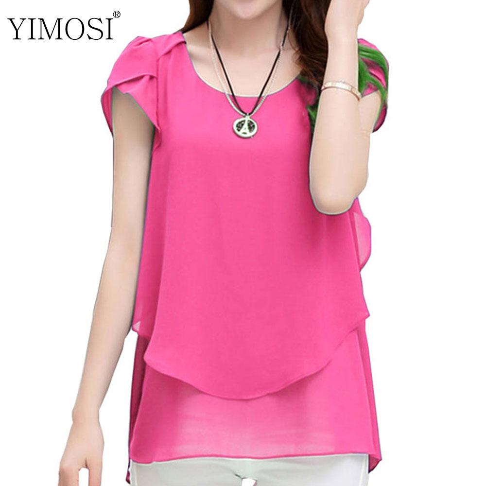 2019 Summer Blouse Women Chiffon Shirts Korean Short Sleeve Casual Tops Plus Size 4XL 5XL Solid Chiffon Blouses Shirt Одежда