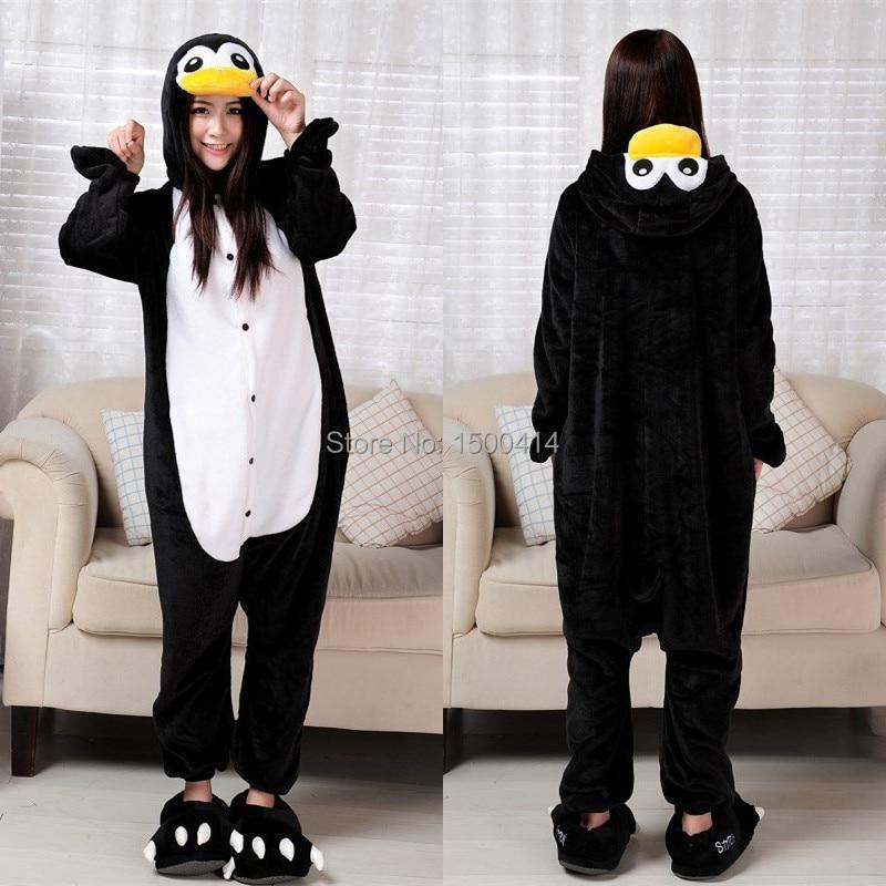 (Silpper yoxdur) Heyvanlar kostyumu Penguin Adult Onesie Unisex Qadın Kişi Pijama Halloween Milad Partiyası Cosplay Kostyumları
