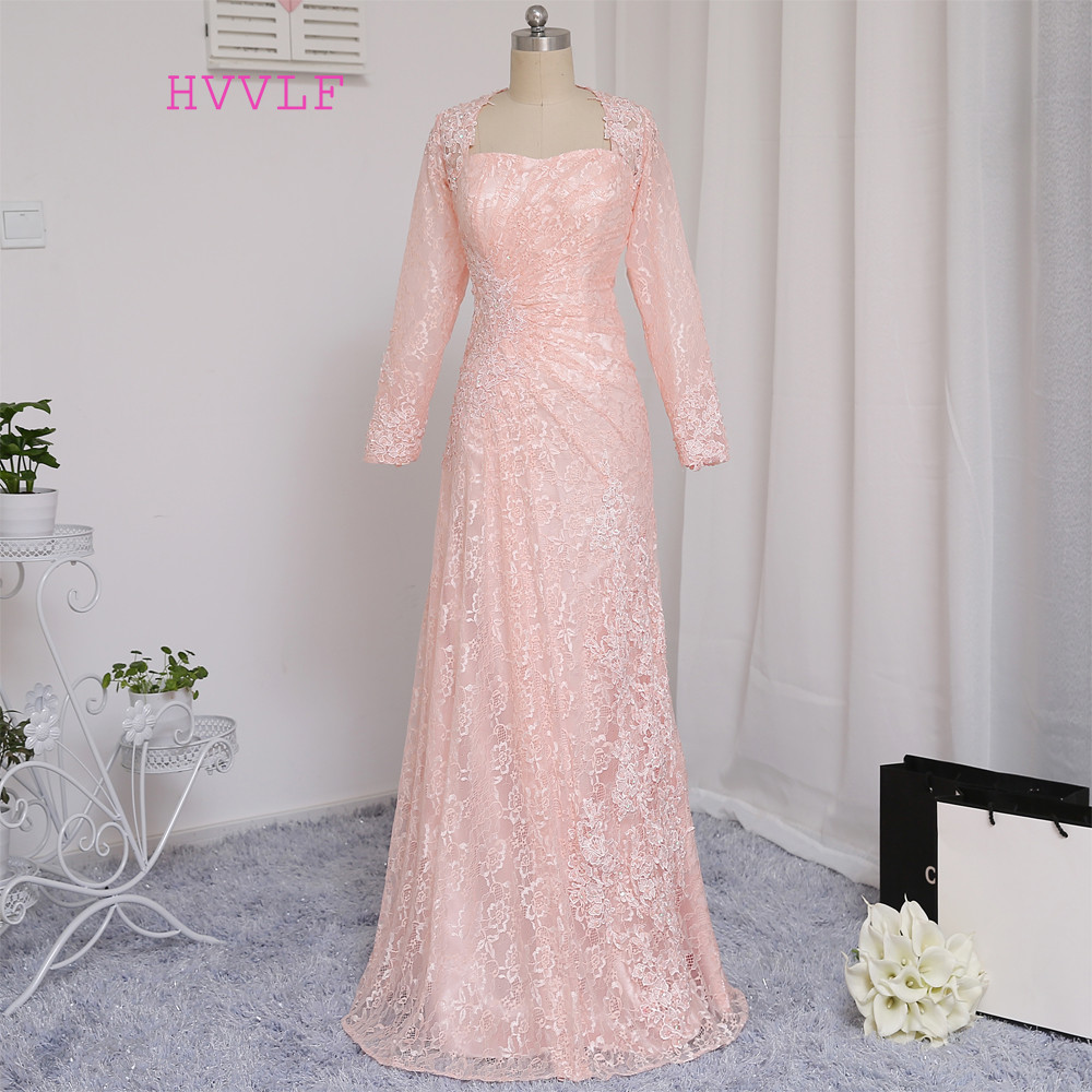 HVVLF розови вечерни рокли 2019 А-линия скъпа дълги ръкави апликации дантела елегантен дълъг вечер рокля пролет рокля пром рокля