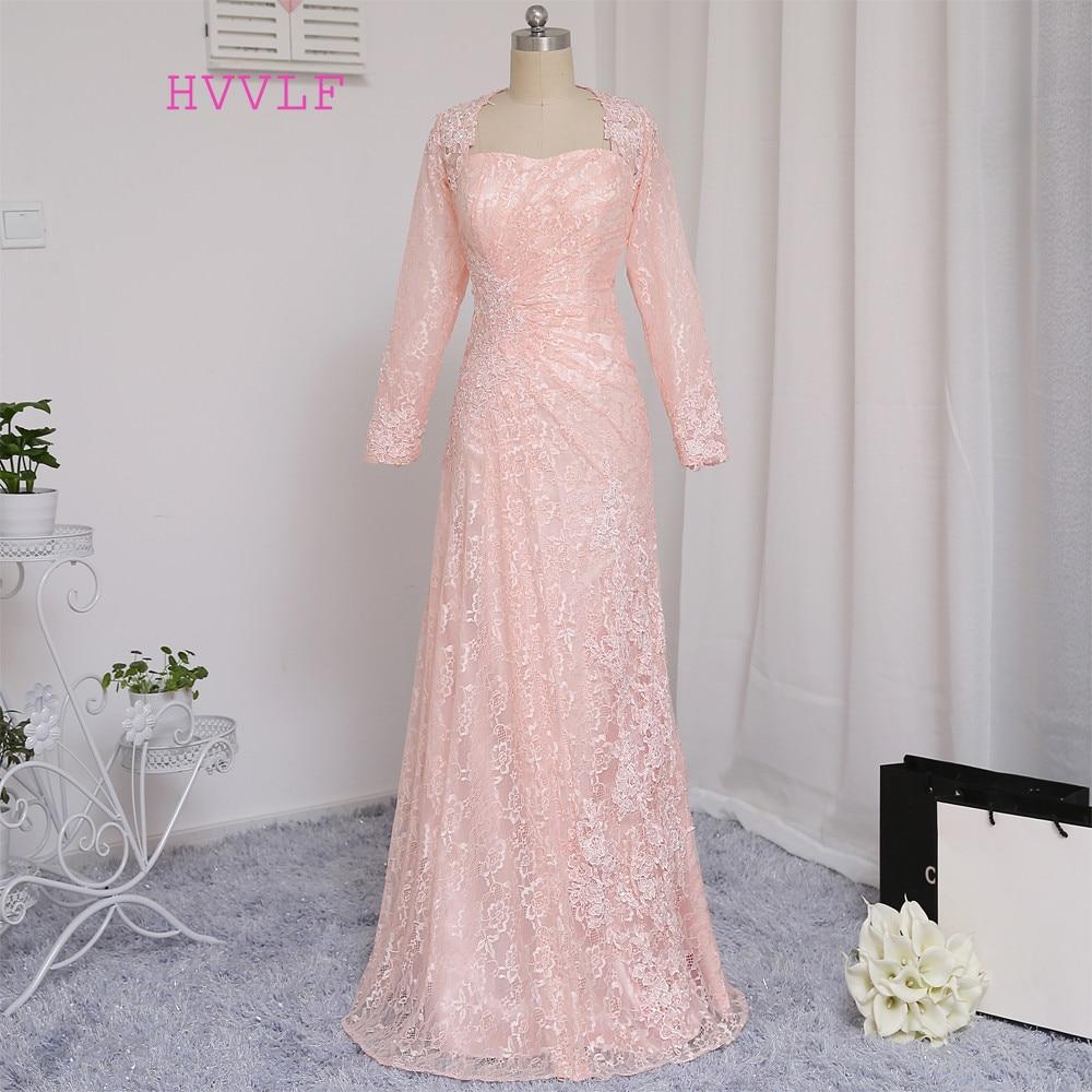 HVVLF Pink Evening Dresses 2019 A-line Sayang Lengan Panjang Appliques Lace Elegant Panjang Evening Gown Prom Dress Prom Gown