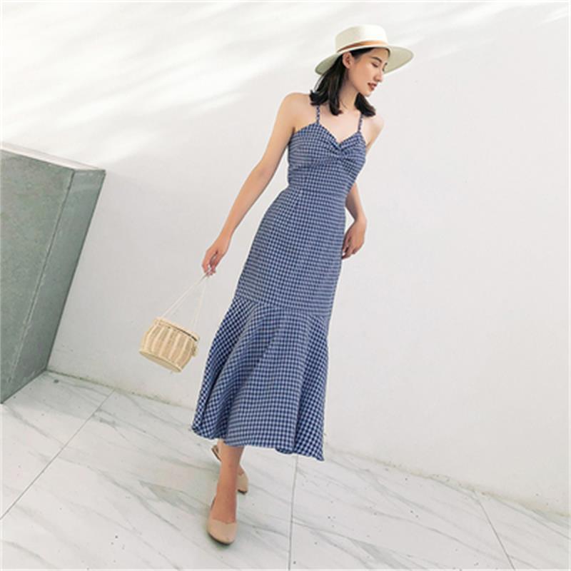 Mode jarretelle robe à carreaux femme été nouvelle haute qualité rétro sexy tempérament robe femmes robe